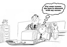 Lurking Boss. Business cartoon about a boss lurking over the employee's shoulder Stock Image