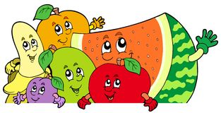 Lurking cartoon fruits Royalty Free Stock Images