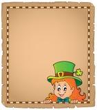 Lurking leprechaun girl parchment 1 Stock Photo