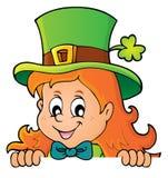 Lurking leprechaun girl theme 1 Royalty Free Stock Photo