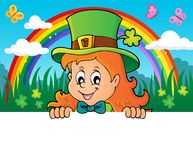 Lurking leprechaun girl theme 2 Stock Image