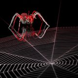 Lurking metallic spider Royalty Free Stock Images