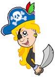 Lurking pirate girl. Vector illustration Stock Photos