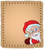 Lurking Santa Claus topic parchment 1. Eps10 vector illustration Royalty Free Stock Image