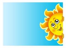 Lurking Sun on sky. Color illustration Royalty Free Stock Photo