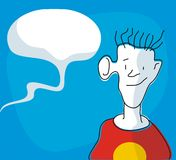 Lurking Youngster. Funny cartoon of a boy listening to some nearby chatters Stock Photography