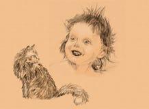 Lurvigt barn och fluffig katt, skissa en blyertspenna Arkivbild
