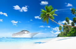 Lurxurious Cruise Ship By The Beach. With Palm Coconut Trees Stock Photo