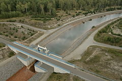 Lusatian sjöområde - Lausitzer Seenland arkivfoto