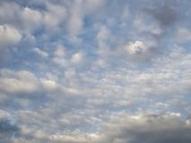 Luscious cloud skyscape. Long view luscious cloud floating condensed watery vapour skyscape blue background greyscale. strata activity patterns weather placid royalty free stock photo