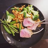 Luscious lamb chops. With broccoli and asparagus Stock Image