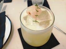Luscious light yellow lychee smoothie. Luscious light yellow lychee smoothie stock images