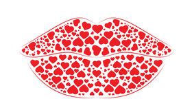 Luscious  Lips. Made of hearts with soft outline defining the shape Stock Images