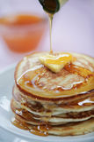 Luscious Looking Pancakes. Stack of pancakes covered in treacle stock photography
