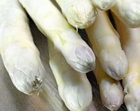 Luscious mature asparagus tips for sale from greengrocers in spr Royalty Free Stock Photos