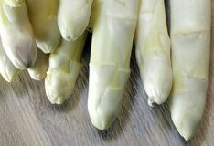 Luscious mature white asparagus from greengrocers in spring Stock Photos