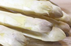 Luscious mature white asparagus tips for sale in spring Stock Photography