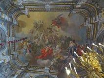 Luscious Naples baroque ceiling. Naples Napoli luscious Naples baroque ceiling. City, buildings, cultures royalty free stock photo