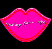 Luscious pink lips with seductive message READ MY LIPS Royalty Free Stock Image