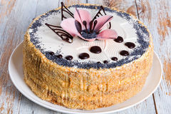 Luscious poppy seeds, walnut and raisins sponge cake. Layered with cream and  decorated with chocolate drops and icing-sugar pink flower on white dish, view Stock Image