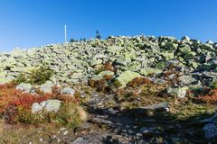 Lusen mountain Bayerischer wald nationalpark. Stone glacial field on the northern side of the summit of Lusen. Bayerischer Wald Na Stock Photography