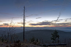 Lusen Sunrise. Sunrise on the mountain Lusen in the Bavarian Forest National Park royalty free stock image