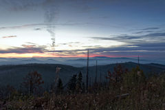 Lusen Sunrise. Sunrise on the mountain Lusen in the Bavarian Forest National Park Royalty Free Stock Photography