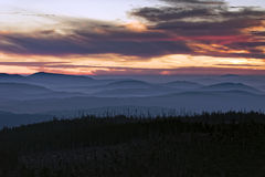 Lusen Sunrise. Sunrise on the mountain Lusen in the Bavarian Forest National Park royalty free stock photos