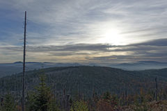 Lusen Sunrise. Sunrise on the mountain Lusen in the Bavarian Forest National Park royalty free stock photo