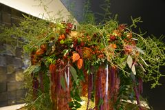 Lush autumn flower arrangement with physalis, asters, berries, leaves and ferny asparagus stock images