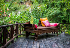 Lush Backyard Patio Stock Images