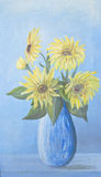 Lush bouquet of delicate sunflowers painting Stock Photos