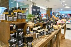Lush. BUSAN, SOUTH KOREA - MAY 28, 2017: cosmetic products sit on display for sale at Lush store in Lotte Department Store. Lush Ltd. is a cosmetics retailer Royalty Free Stock Photos