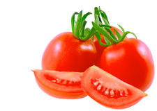 Lush cutting tomatoes . Isolated Royalty Free Stock Photo
