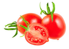 Lush cutting tomatoes . Isolated Stock Images