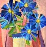 Lush dark blue daisies Stock Photo