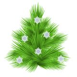 Lush fir tree decorated with snowflakes. Isolated on white  illustration.  Royalty Free Stock Image