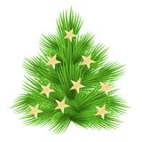 Lush fir tree decorated with stars. Isolated on white  illustration.  Royalty Free Stock Photos