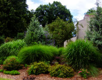 Lush garden. Garden and architecture, Charlotte NC stock photos