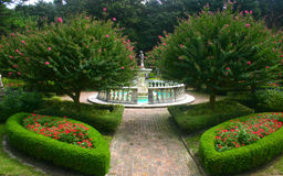 Lush Garden with fountain. Beautifully landscaped garden with a center fountain Royalty Free Stock Photos