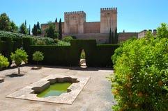 Alhambra in Granada, Spain. Lush gardens of Alhambra, Granada, Spain royalty free stock photos