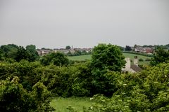 Lush Green Fields of Standish in Wigan. Looking over the lush green fields on the outskirsts of Standish in Wigan Royalty Free Stock Photo