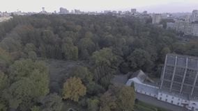 Lush green forest on top of hill, aerial view, camera spin. Mixed trees and bushes, peak, nature view from above. Hd stock video footage