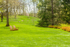 Lush green garden with chairs. Well maintained garden with lush green grass and tress with chairs Stock Photography