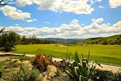 Rustic Canyon Golf Course Moorpark California. Lush green grass manicured to perfection on the course of Rustic Canyon Golf Course in Moorpark California royalty free stock photo