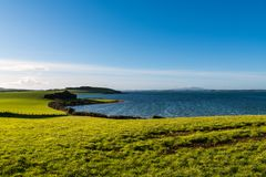 Beautiful curving shoreline of lush green, grassy fields stock image