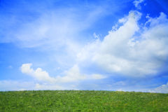 Lush, green landscape with blue sky and clouds. Stock Images