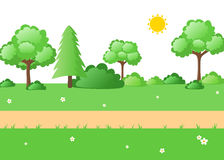 Lush green nature cartoon outdoor landscape Stock Photos