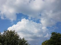 Beautiful s clouds and lush green trees of the Summer Season in parks royalty free stock photo