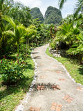 Lush green tropical retreat resort alley at Khao Sok lake Royalty Free Stock Photography